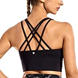 CRZ YOGA Strappy Sports Bras for Women Longline Wirefree Padded Medium Support Yoga Bra Top Black Large