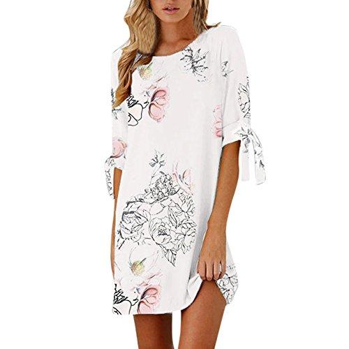 YWLINK Damen Elegant Einfach A Line Kleid Sommer Kurzarm Bow Bandage Floral Straight LäSsig Minikleid(Weiß,M)