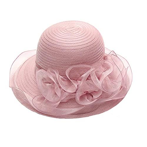Donna Elegante Battesimo Cappello Derby Church Cappelli e Cappellini Pieghevole Cappello da Sposa,Signora Cappelli in Organza Estate Protezione UV Cappelli da Spiaggia Cappello da Sole a Tesa Larga