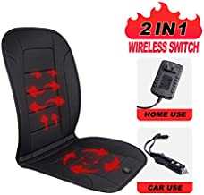 TISHIJIE Heated Car Seat Cushion with Wireless Intelligence Temperature Controller, Automatic Power On/Off – Car Seat, Office Chair and Home Universal (12V, Black)