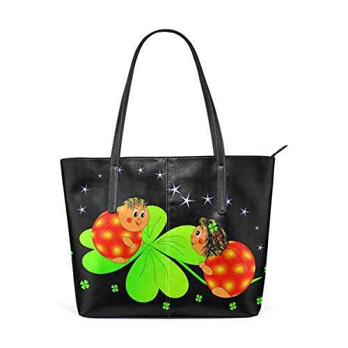 XGBags Custom Borsa a tracolla in pelle PU da donna Four-Leaf Clover Ladybird Purse PU Leather Shoulder Tote Bag Purse for Womens Girls Ladies