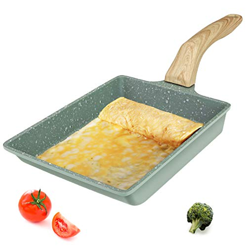 Tamagoyaki Japanese Omelette Pan, Egg Omelette Pan,Square Pan Non-Stick Ceramic Coating Mini Frying Cooker with Anti Scalding Handle, Gas Stove and Induction Hob Compatible(Hammertone Green)