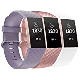 Compatible with Fitbit Charge 3 Bands / Fitbit Charge 4 Bands for Women Men, Adjustable Replacement Wristbands for Fitbit Charge 3 SE and Fitbit Charge 4, 3 Pack, Lavender, RoseGold, White, Small