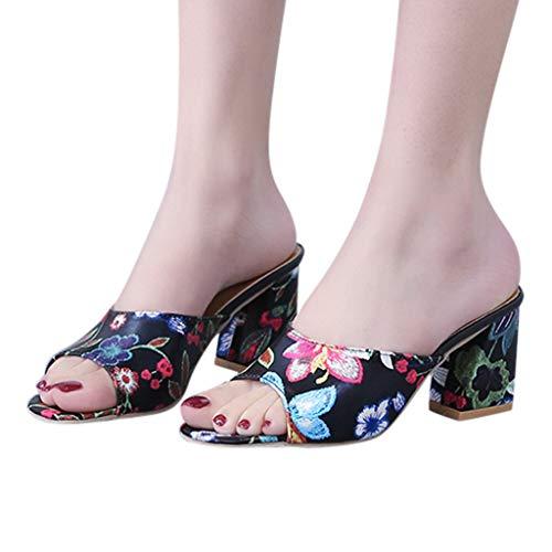 VESNIBA Damen Sandale Frauen Hausschuhe mit Leder Laufsohle Blockabsatz Spangenpumps Mid Heel Zeh Sommer Elegant Mary Janes Schuhe