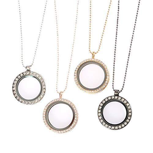 4 Pieces Rhinestone Photo Charm Crystal Picture Frame Bouquet Charm Round Shaped Memory Locket Necklace