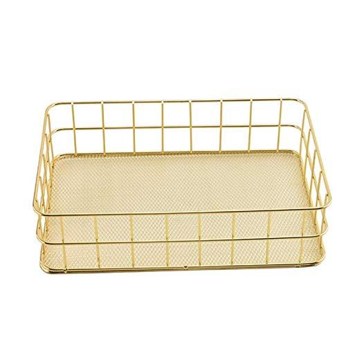 XinLuMing Cesta de retención de Hierro Forjado de Oro, Cesta de Almacenamiento de Metal, estantes de la Rejilla de Metal de Hierro, Cesta de Acabado de Escritorio para baños Artículos de tocador
