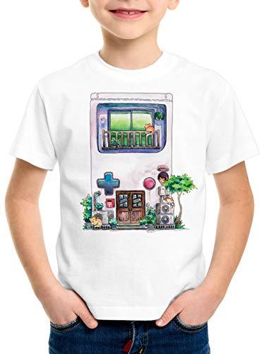 style3 Game Mansion Camiseta para Niños T-Shirt Pixel Boy 8bit casa Japonesa, Talla:140
