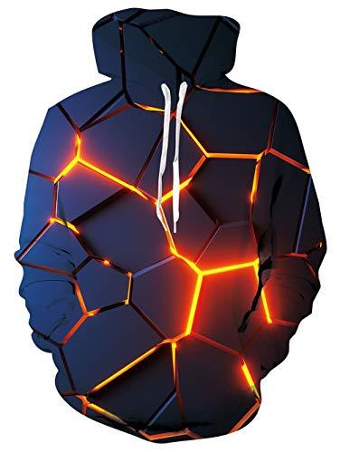 TUONROAD Herren Hoodie 3D Druck Kapuzenpullover Unisex Bunter Pullover Sweatshirts M