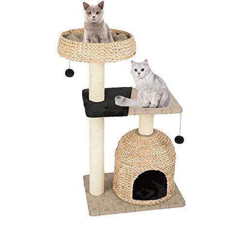 Árbol para Gatos de 105cm Condominio Acogedor con Felpudos Diseño de Paja Torre para Gatos Percha de Felpa Acolchada Postes Rascadores de Sisal Bolas Colgantes