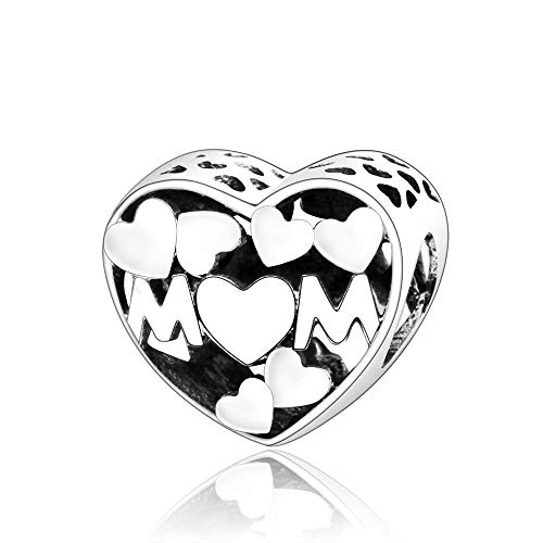 LILANG Pandora Jewelry Bracelet 925 Natural Auténtica Plata esterlina Corazón Mom Charms Bead Fit Original Charms Jewerly Making DIY Gifts para Mujeres
