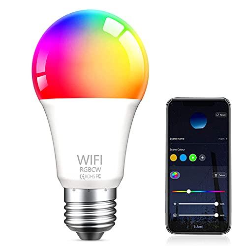 Bombilla LED Inteligente WiFi , Aweskmod E27 9W Smart Light Bombilla Luces Cálidas RGB 2800k-6200k Ajustable y Lámpara Multicolor Funciona con Alexa, Google Home,[Clase de eficiencia energética A+]