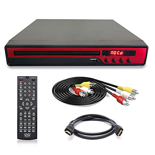Maxesla Reproductor de DVD para TV - Compact DVD Player con Conector USB, Salida HDMI y AV, Incluido Cable AV &Control Remoto, DVD/ DVD-R-RW/CD Video/Mpeg4/DivX, Negro
