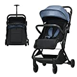 Baby Joy Lightweight Baby Stroller, Infant Stroller w/Easy One-Hand Fold, Adjustable Backrest/Footrest/Canopy, 5-Point Harness & Storage Basket, Compact Toddler Travel Stroller for Airplane (Gray)