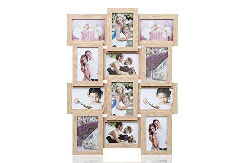 ARPAN Bilderrahmen aus Holz für mehrere Bilder, für 12 Fotos à 10 x 15 cm, für Collagen, zur Wandbefestigung, Holz, Natur, 59 cm x 47 cm x 3 cm