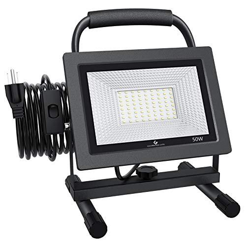 GLORIOUS-LITE 50W LED Work Light, 5000LM LED Flood Lights, 400W Equivalent, IP66 Waterproof, 16ft 5m...