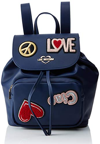 Love Moschino Damen Pu Rucksackhandtasche, Blau (Blu), 15x10x15 centimeters