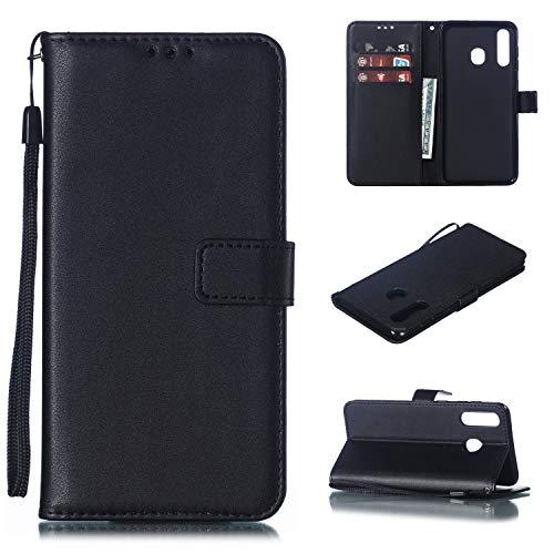 Snow Color Galaxy A20 / A30 Hülle, Premium Leder Tasche Flip Wallet Case [Standfunktion] [Kartenfächern] PU-Leder Schutzhülle Brieftasche Handyhülle für Samsung Galaxy A20/A30 - COMS020182 Schwarz