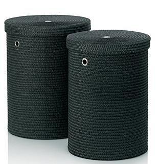 kela 22981 Set paniers à Linge Rimossa 2 Pieces en Tissu Noir, Plastique, 42 x 42 x 52 cm