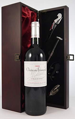 Chateau Fontenil 1999 Bordeaux en una caja de regalo forrada de seda con cuatro accesorios de vino, 1 x 750ml