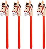 Oringaga 4 Packs Inflatable Stick Horses - Western Cowboy/Pony//Horse Themed Baby Shower Kids Birthday Party Decorations Supplies Favors Inflatable Costume Stick Horse