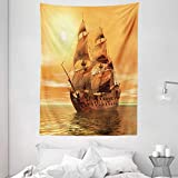 Ambesonne Vintage Tapestry, Ocean Sealife Wavy Pirate Ship Sailing in a Glass Water Image, Wall Hanging for Bedroom Living Room Dorm Decor, 60' X 80', Yellow Marigold