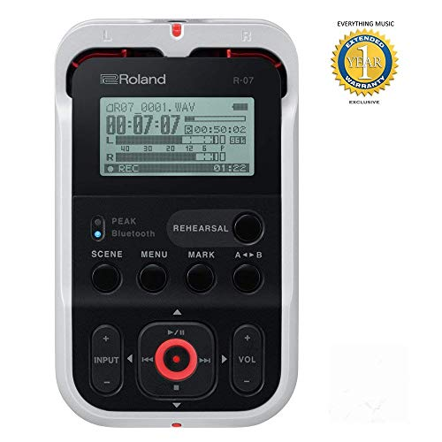 Roland R-07 High-Resolution Audio Recorder White (R-07-WH) with 1 Year Everything Music Extended Warranty Free