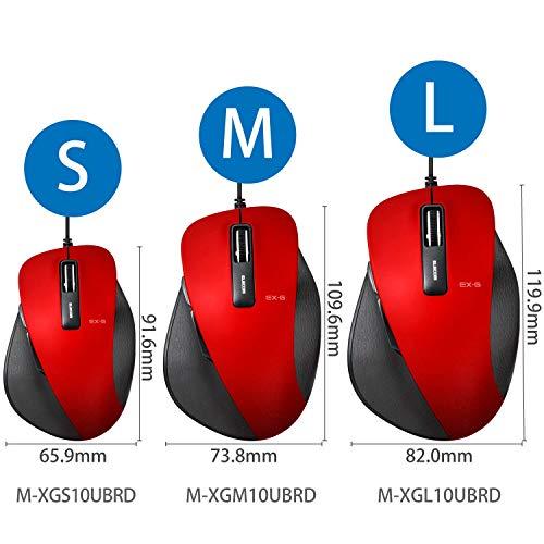 『エレコム マウス 有線 Lサイズ 5ボタン (戻る・進むボタン搭載) BlueLED 握りの極み レッド M-XGL10UBRD』の4枚目の画像