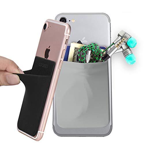 COCASES 2 Piezas Tarjetero Monedero Adhesivo de Móvil, Licra Bolsillo Ultradelgado para Tarjetas con Pegamento para Teléfono Inteligente (Negro y Gris)