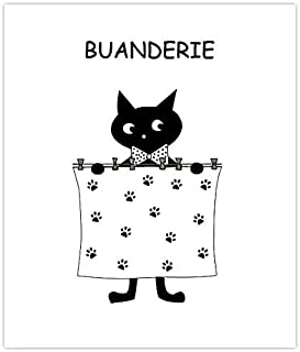 Plaque de porte de buanderie humoristique chat noir, signalétique buanderie lingerie