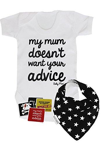 """Divertido juego de regalo para bebé """"Mi mamá no quiere tus consejos""""   Body para bebé, juego de babero, baby shower ideal o regalo para bebé nuevo (niños o niñas de 3-6 meses)"""
