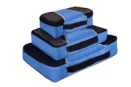 Vinsani® Lot de 3 cubes d'emballage respirants pour voyage et vacances, bleu (Bleu) - 0006427
