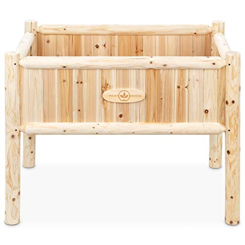 Wooden Raised Planter Box with Legs - Elevated Outdoor Patio Cedar Garden Bed Kit to Grow Vegetables - Unmatched Strength Lasts Years, Natural Rot-Resistant Wood - Boldly Growing (Heavy Duty Tall)