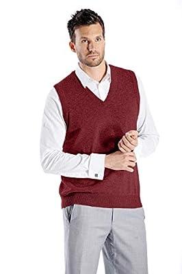Cashmere Boutique: Men's 100% Pure Cashmere Vest Sweater (Color: Burgundy, Size: Small) by