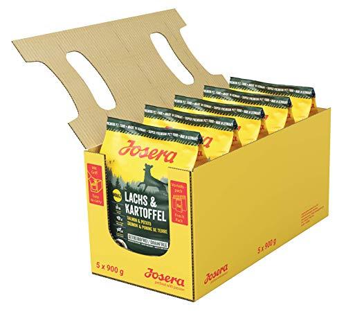 JOSERA Lachs & Kartoffel (5 x 900 g)   getreidefreies Hundefutter   Lachs als einzige tierische Proteinquelle   Super Premium Trockenfutter für ausgewachsene Hunde   5er Pack