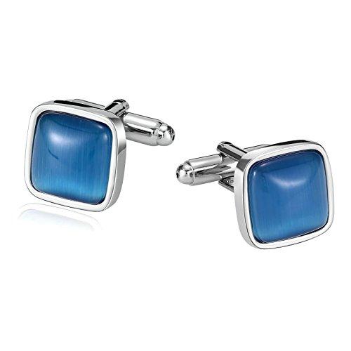 Epinki Herren Hemd Manschetten Knöpfe Silber Quadrat Blau Opal Manschettenknöpfe Hochzeit Bräutigam Männer Geschenk
