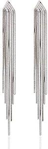 Argento 925 catena lungo nappa ciondola gli orecchini di goccia del partito di cocktail lineare orecchini gioielli da sposa