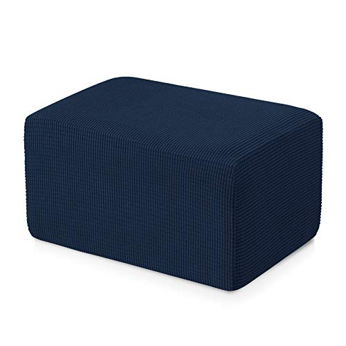 subrtex Stretch Storage Ottoman Slipcover Protector Oversize Spandex Elastic Rectangle Footstool Sofa Slip Cover for Foot Rest Stool Furniture in Living Room (XL, Navy)