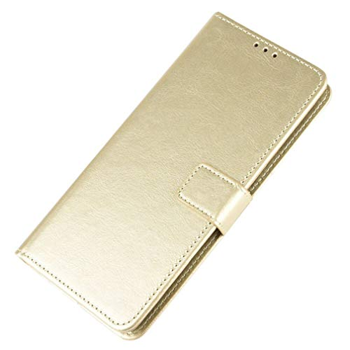 HAOTIAN Hülle für Huawei Honor 9A/Play 9A, Flip Wallet Hülle Cover, Klapphülle Handytasche, [Flip Stand/Kartensteckplatz] Leder PU Handyhülle, Schutzhülle mit Magnet/Geldbörse/Halter, Gold
