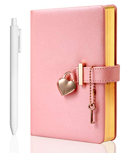 Heart Shaped Lock Diary with Key for Girls PU Leather Cover Journal Personal Organizers Secret Notebook for Women, B6 Size 5.3x7 inch, Pink