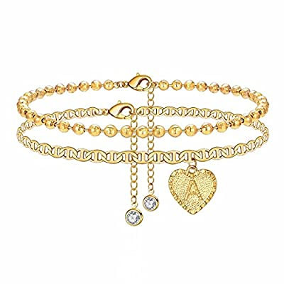 IEFSHINY A Ankle Bracelets for Women Initial Anklet, Mariner Chain Letter Anklet with Initials Anklet Bracelet for Women Gold Anklets Bracelets