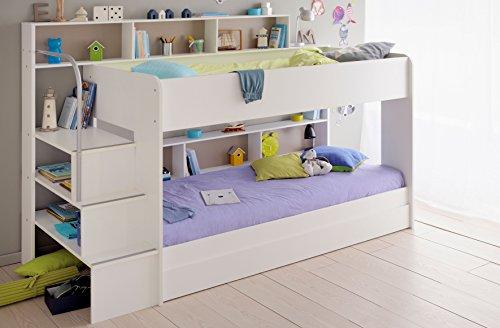 90×200 Kinder Etagenbett Weiß/grau mit Bettkasten Treppe und Geländer - 6