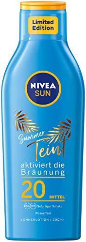 NIVEA SUN Summer Teint Sonnenlotion LSF 20 (200 ml), Sonnenschutz für langanhaltende Bräune ohne Selbstbräuner, Sonnencreme mit Carotin-Extrakt und Vitamin E