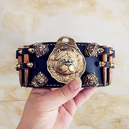 KIFFAY Collar de Pitbull Dorado con el Mejor Collar Personalizado de Cuero Real, Collares de Perro con púas Anchas, Buen Collar de Caza de mastín Occidental para protección