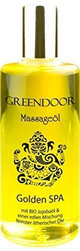 Greendoor Massageöl Golden SPA 100ml, natur-reines BIO Jojobaöl und Aprikosenkernöl, vegan, natürlicher entspannender Duft, Spitzenqualität, hervorragendes Körperöl, Geschenk
