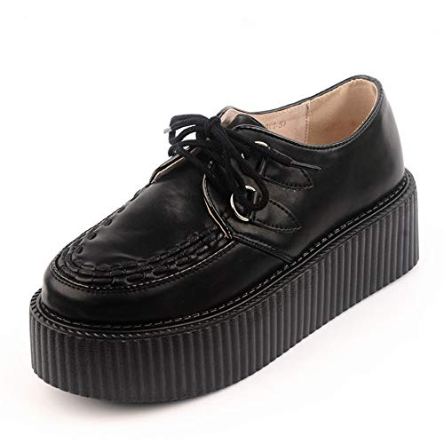 RoseG Mujer Zapatos Cordones Cuero Plataforma Punk Creepers Negro Size38