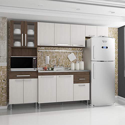 Cozinha Completa Annie Plus Modulada 4 Peças 240cm Marrom Com Tampo
