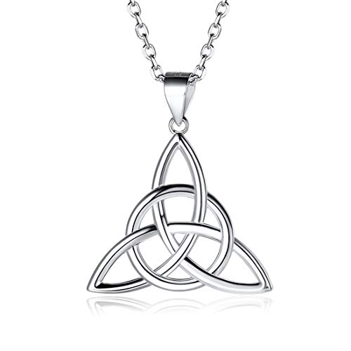 925 Sterling Silver Pendant Necklaces Dainty Simple Good Luck Irish Celtic Knot Triangle Necklaces, Rolo Chain 18'