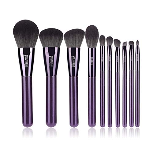 Hasey Ensemble De 10 Pinceaux De Maquillage Ensemble Complet - Kit De Cache-cernes en Poudre pour Fard À Paupières À Base D'oeils De Sourcils À Base D'ombres À Sourcils Synthétiques (Color : Purple)