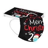 YONSIN Erwachsene Weihnachts-Mundschutz Einweg-Gesichts Bandana 3Ply Halstuch Schal mit Ear Loop,Weihnachtsmann mit Mundschutz