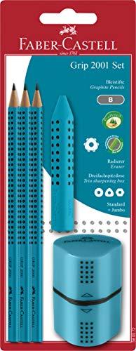 Faber-Castell 580072 - Grip 2001 Set, türkis, Bleistift, Spitzer und Radierer